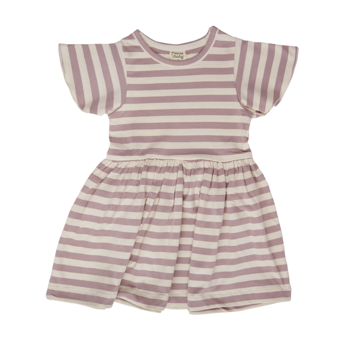 Nature Baby Lilac Sea Stripe Petal Sleeve Dress