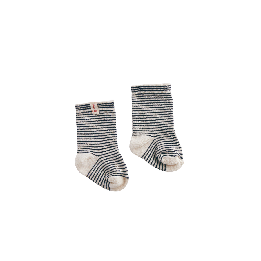 Nature Baby Organic Cotton Navy Stripe Socks (last size 1-2y)