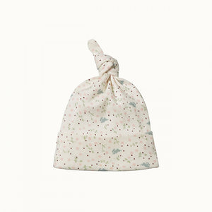 Organic Baby Knotted Beanie - Sweet Pea Print (last one 6-12m)