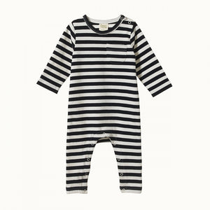 Long Sleeve Organic Baby Romper - Navy Sea Stripe