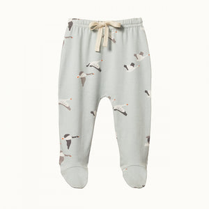 Organic Baby Footed Romper- Geese Print