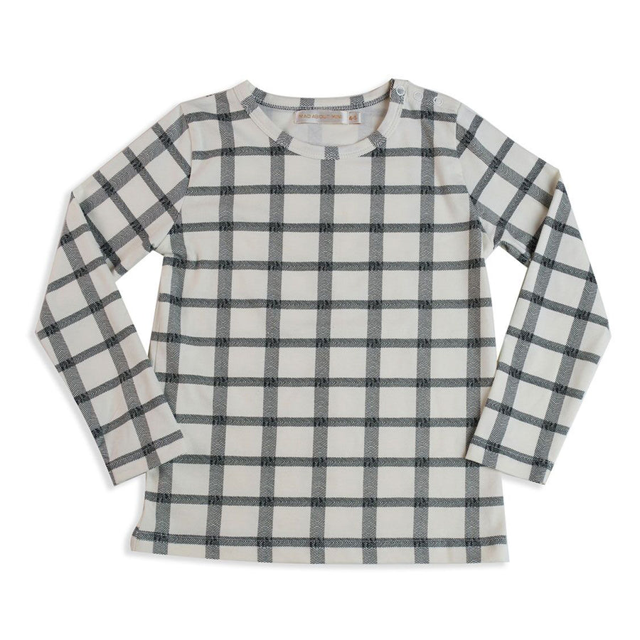 Mad About Mini Herringbone Check Long Sleeve Top (6-12m & 1-2y left)