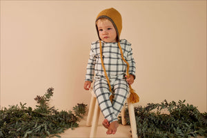 Mad About Mini Herringbone Check Long Sleeve Onesie (12-18m & 18-24m left)