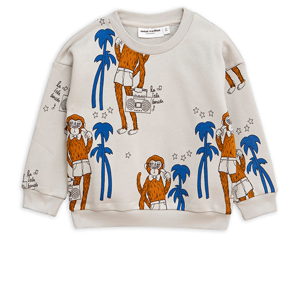 Mini Rodini Cool Monkey AOP Grey Sweatshirt