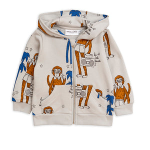 Mini Rodini Cool Monkey AOP Grey Zip Hoodie