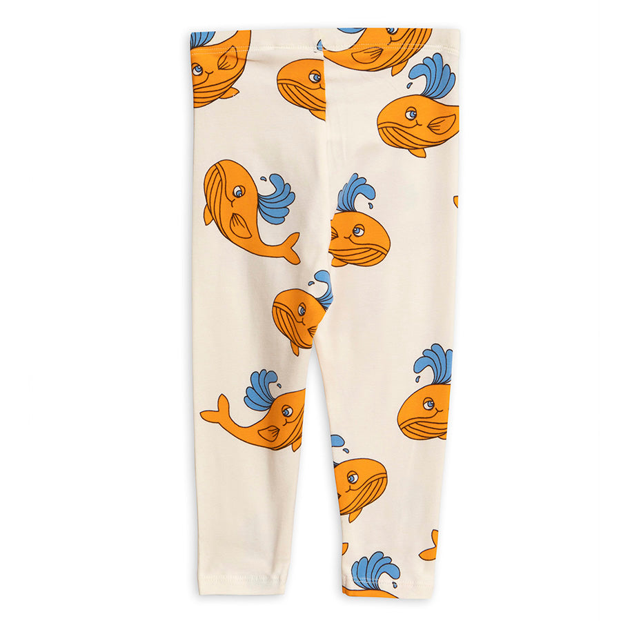 Mini Rodini Orange Whale AOP Leggings