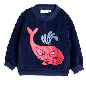 Mini Rodini Navy Whale Terry Sweatshirt