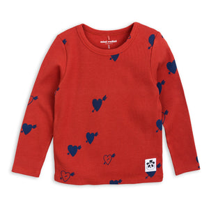 Mini Rodini Heart Rib Long Sleeve Tee Red