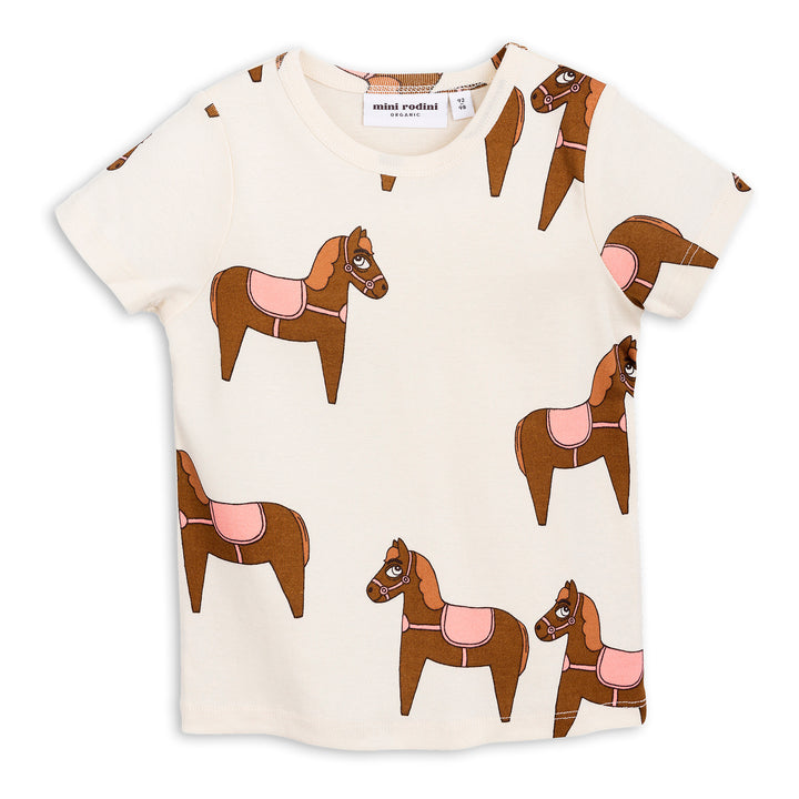 Mini Rodini Horse Short Sleeve Tee Pink (last one 1-4m)