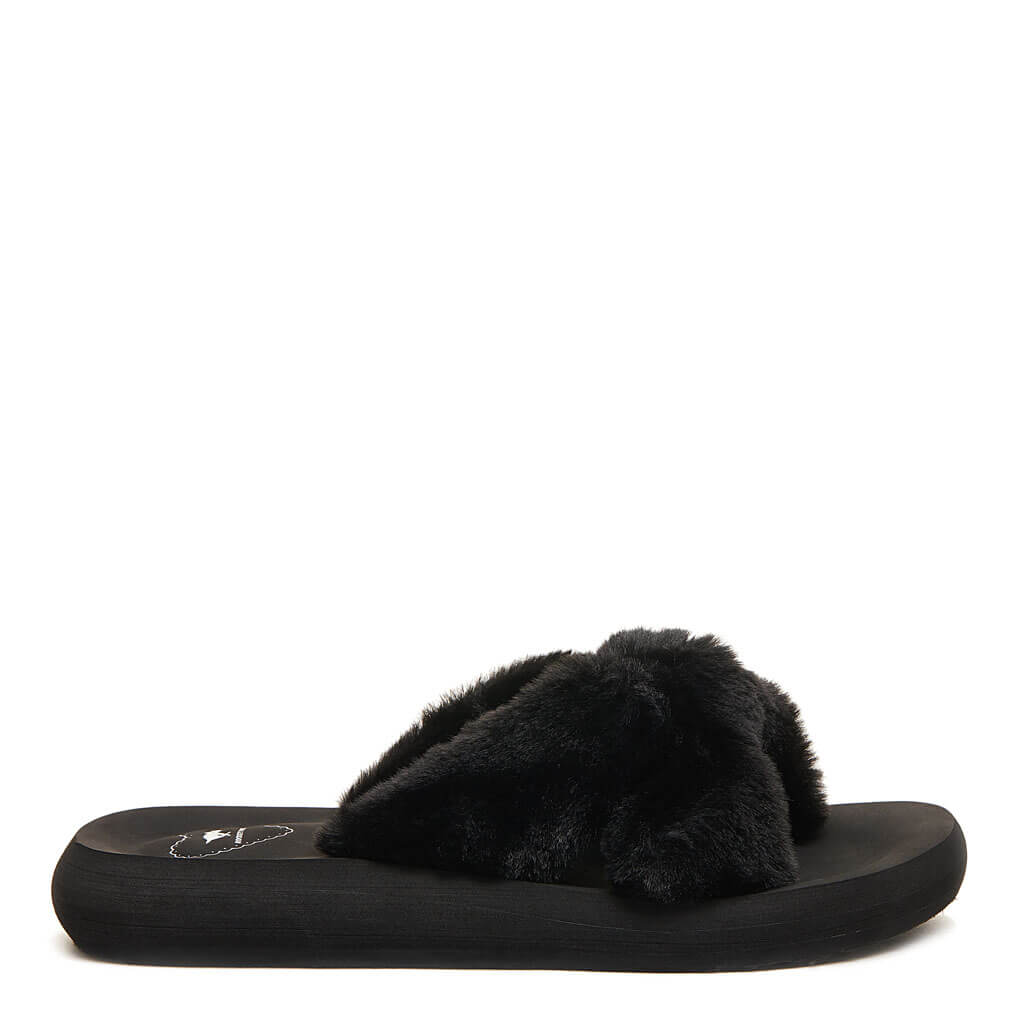 Rocket Dog® Slade Black Fur Slippers