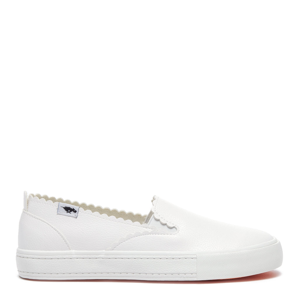 April White Grainy PU Slip-on Sneaker