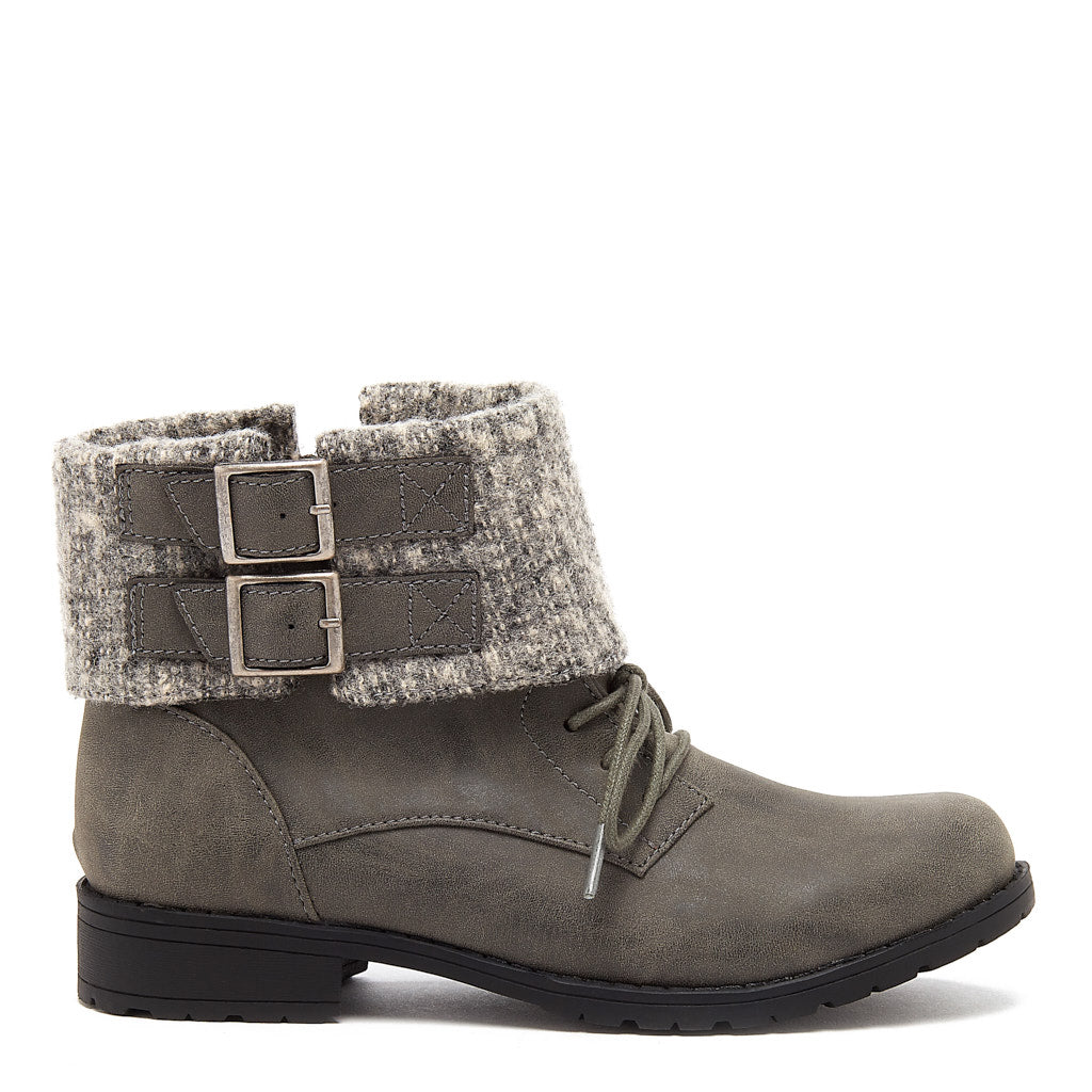 Babster Charcoal Cuffed Ankle Boot