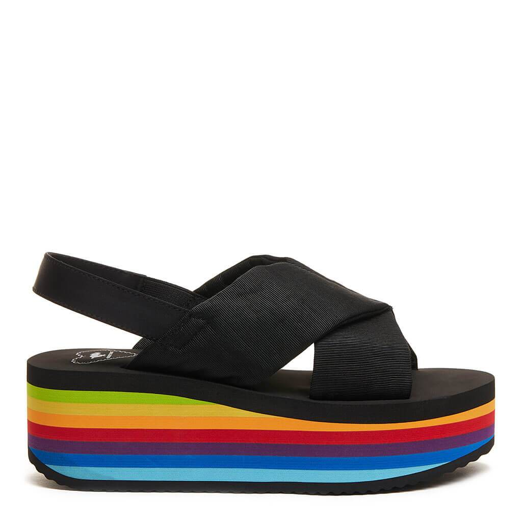 Rocket Dog® Hanalei Black Rainbow Platform Sandal