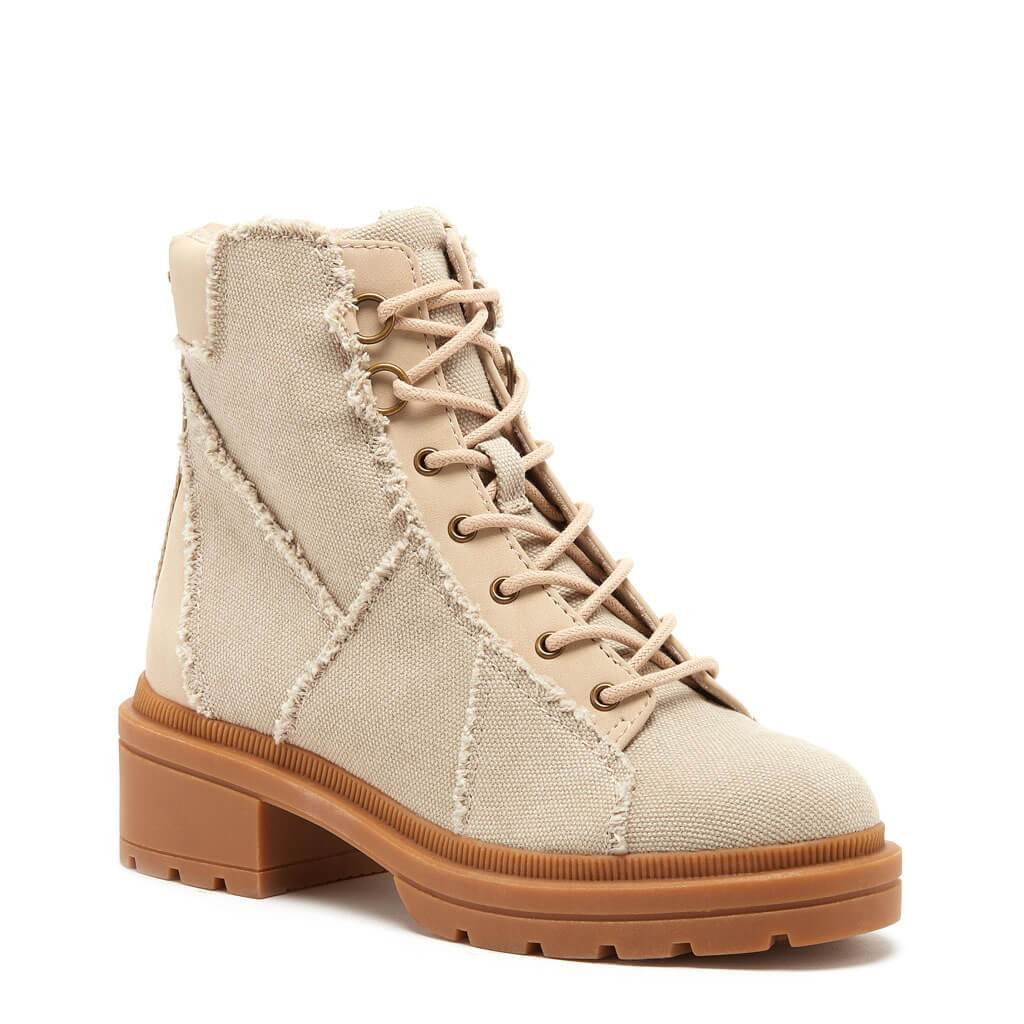 Irys Natural Frayed Canvas Boot
