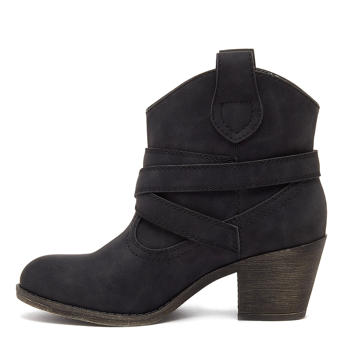 Satire Distressed Black Western Boot