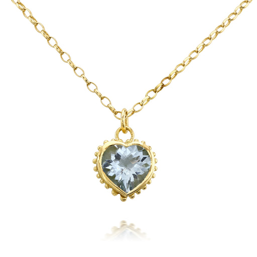 Aquamarine Set Heart Necklace