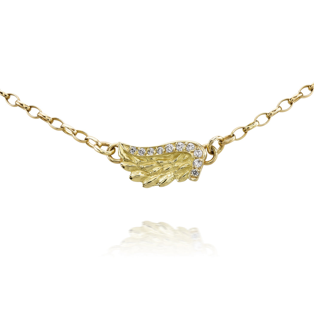 Yellow Gold Diamond Venetian Wing Necklace