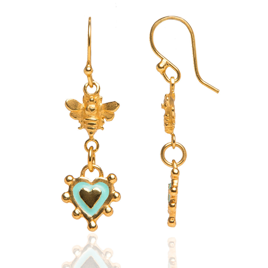Baby Bee & Sacred Heart Earrings