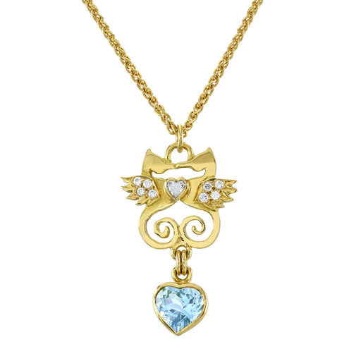Gold, Diamond & Aquamarine Kissing Seahorse Necklace