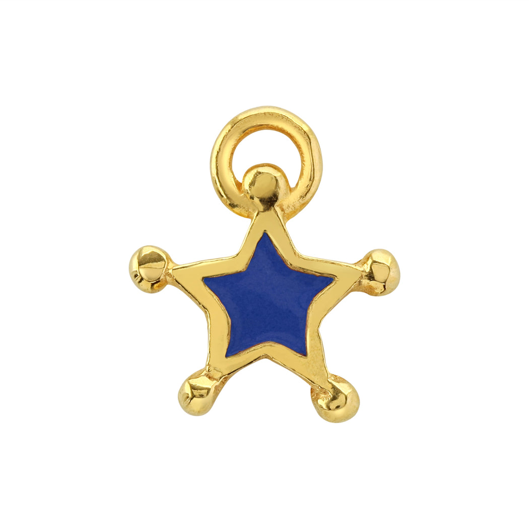 Prussian Blue Enamel Star Charm