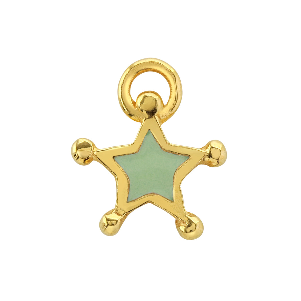 Peppermint Green Enamel Star Charm