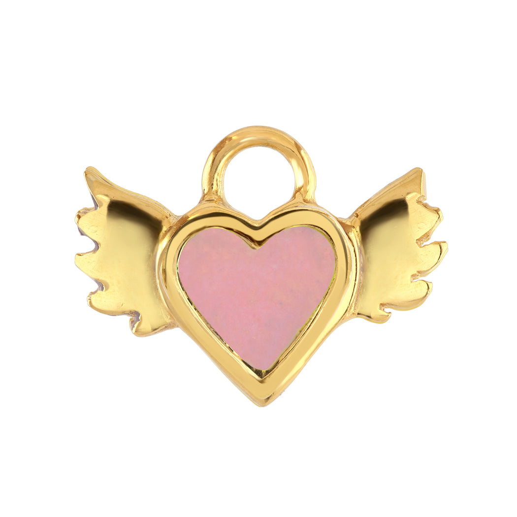 Pink Enamel Winged Heart Charm