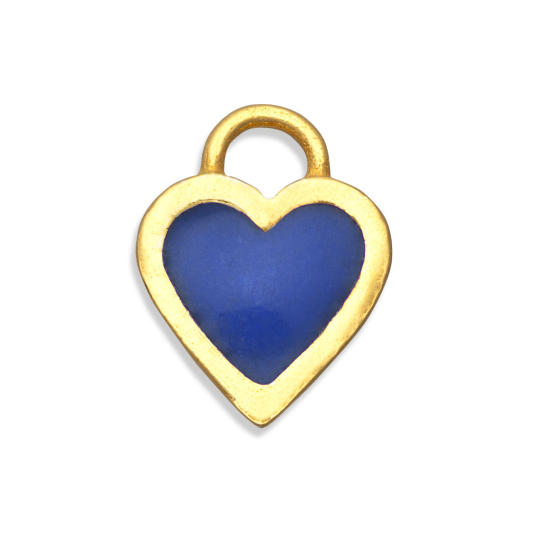Prussian Blue Classic Heart Charm