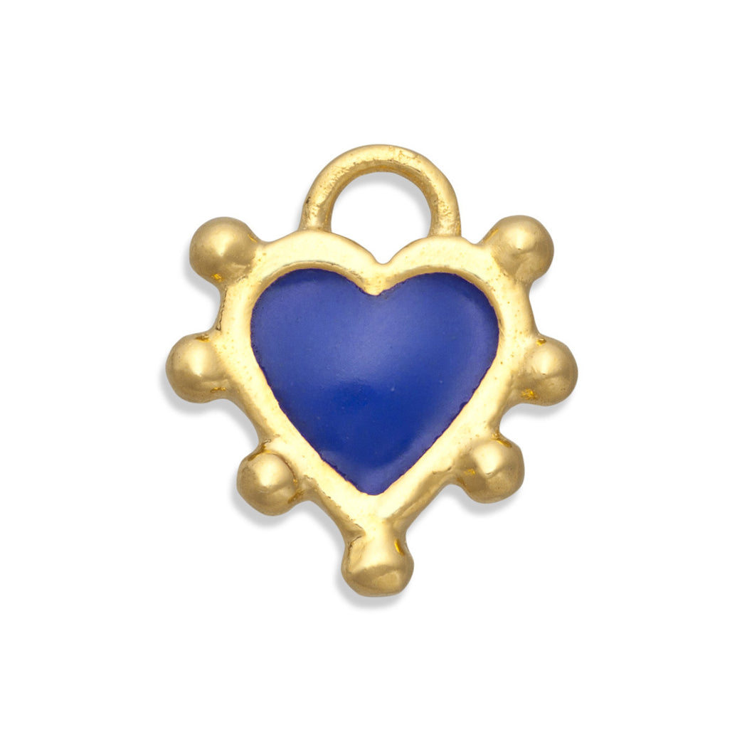 Prussian Blue Boho Heart Charm