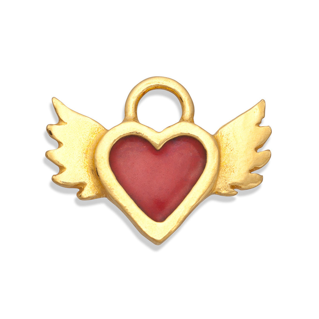 Red Enamel Winged Heart Charm