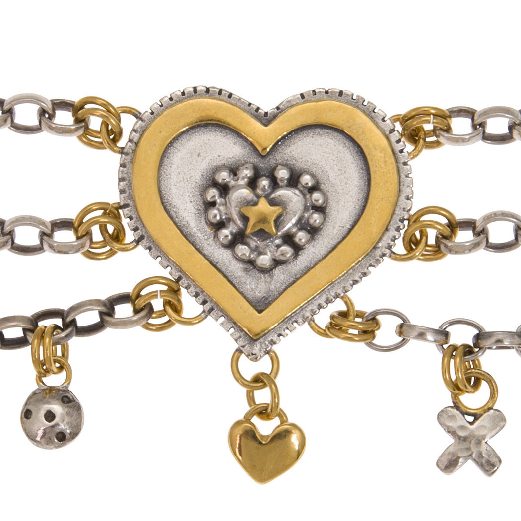 Large Layered Heart Bracelet