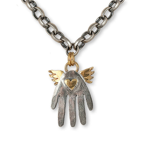 Large Winged Hand Necklace