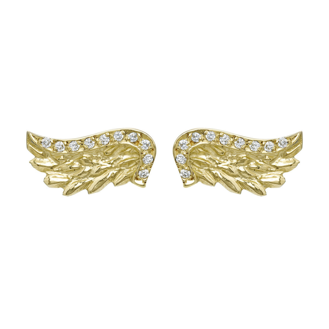Gold & Diamond Venetian Wing Studs