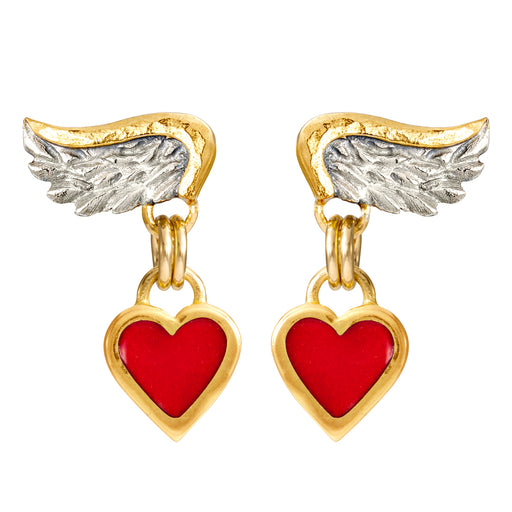 Venetian Wing & Enamel heart Drop Earrings