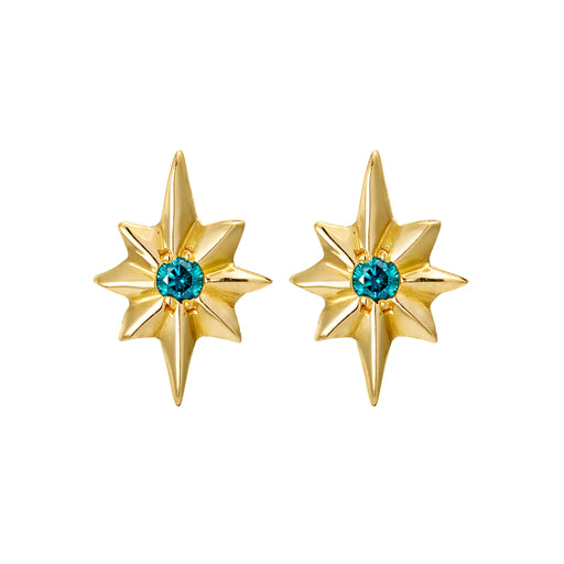 Blue Diamond North Star Stud Earrings