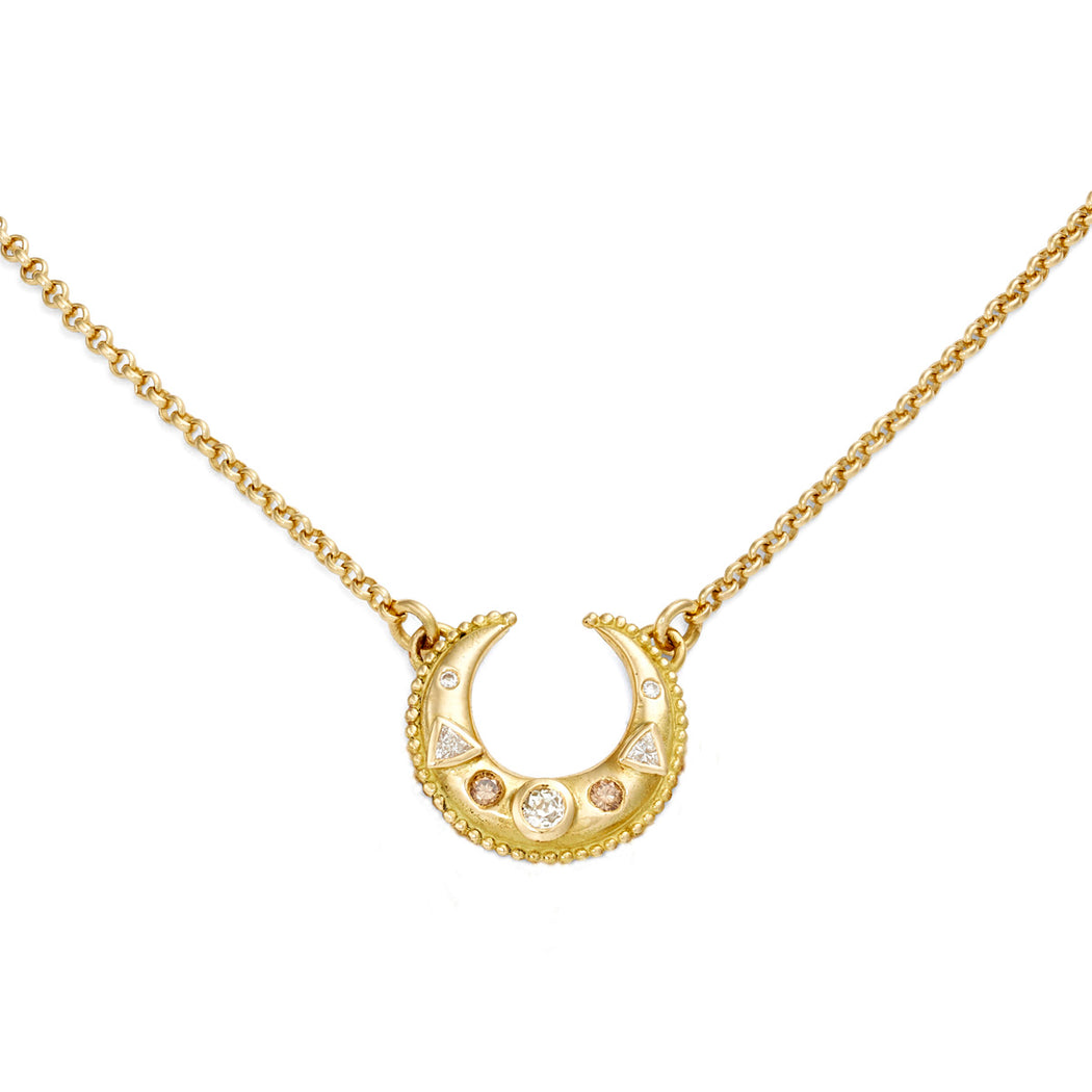 Large Luna Gold & Diamond Necklace