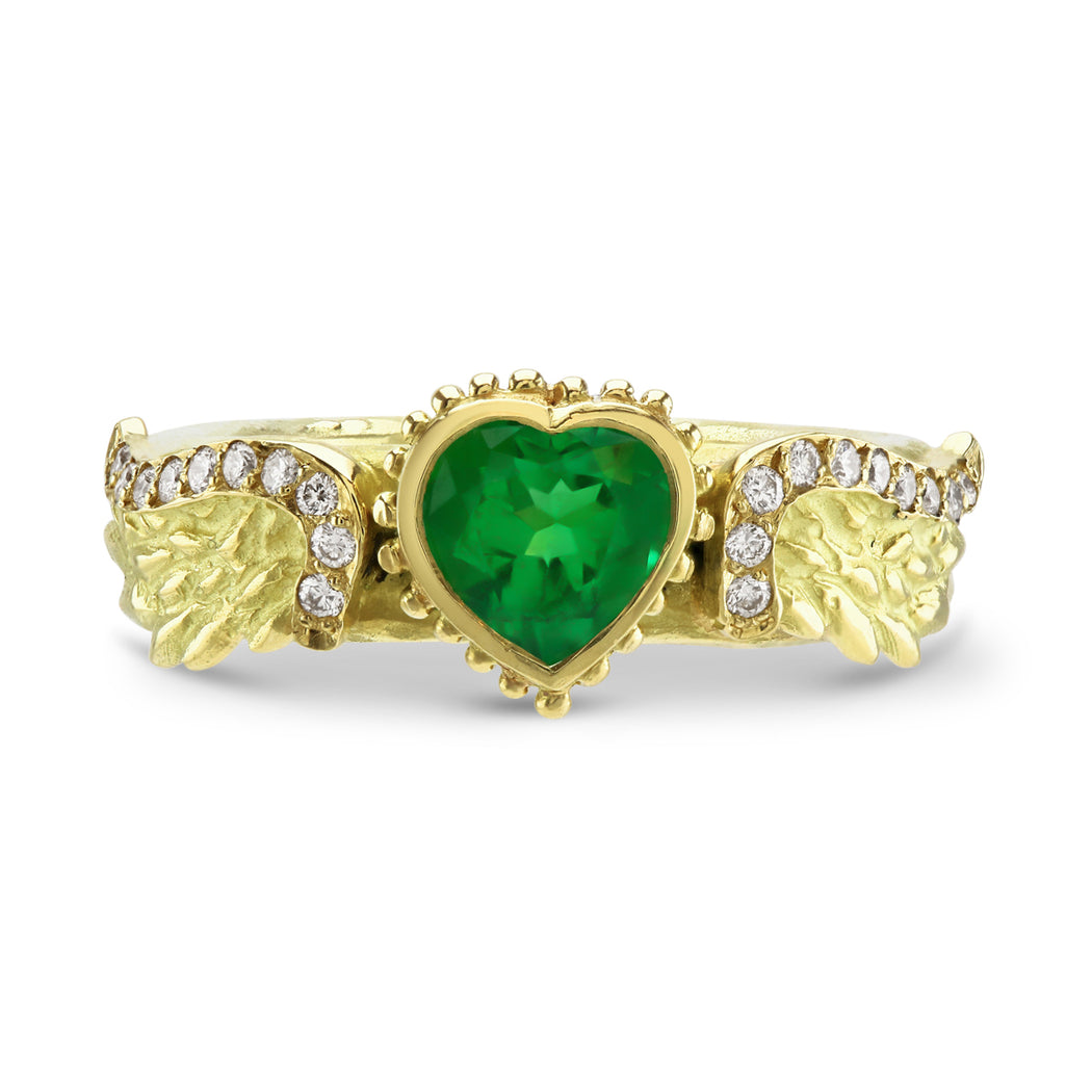 Venetian Wing Emerald Heart Ring