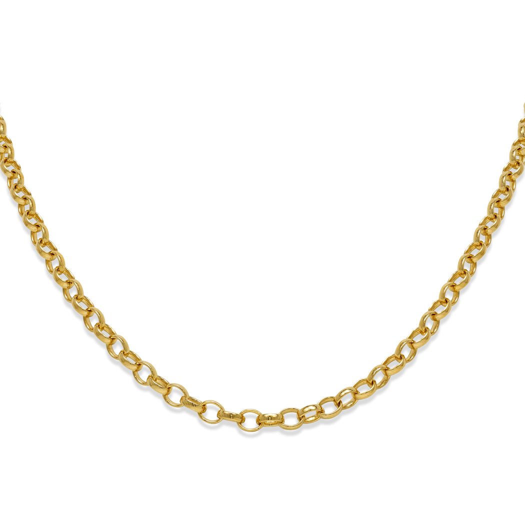 Gold Plated Medium Oval Belcher Chain Necklace