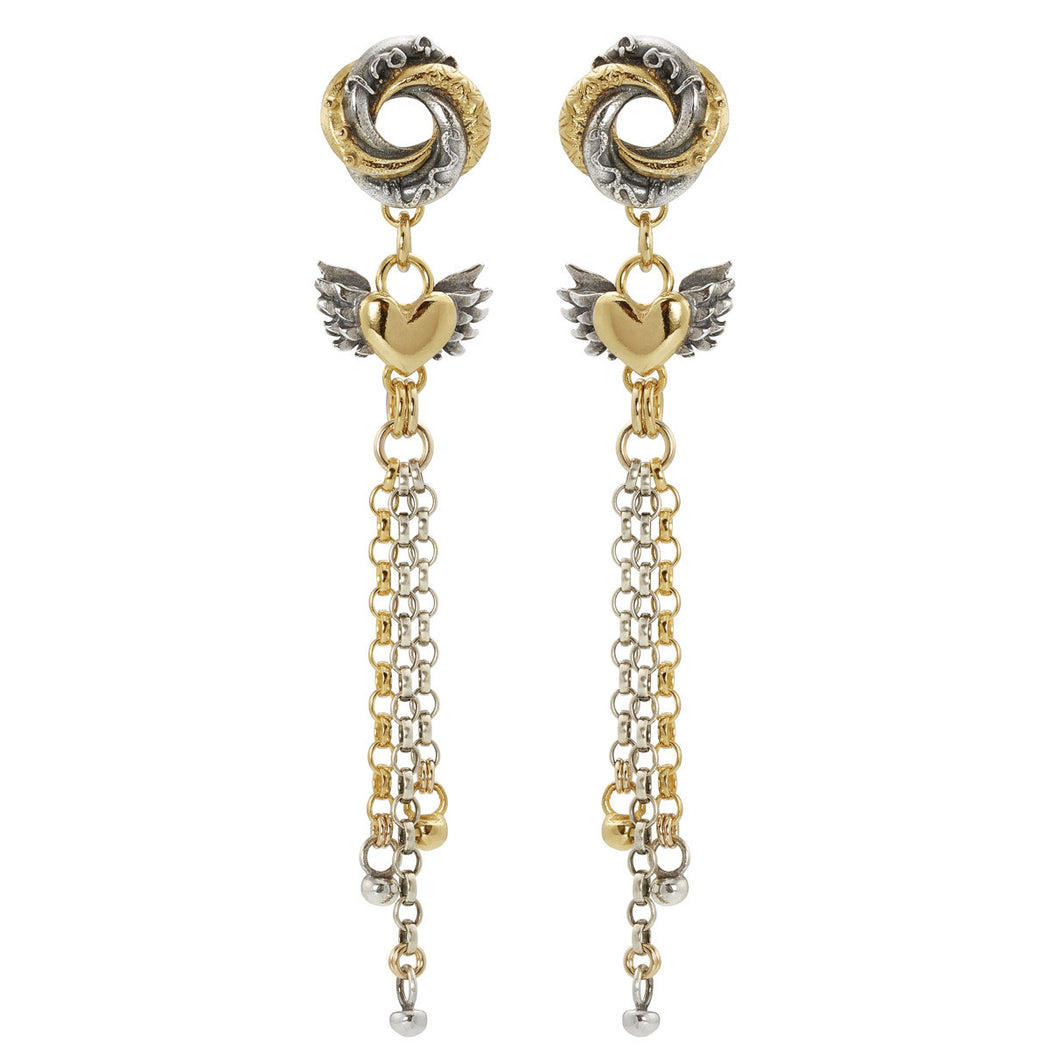 Chain Drop Loveknot Earrings