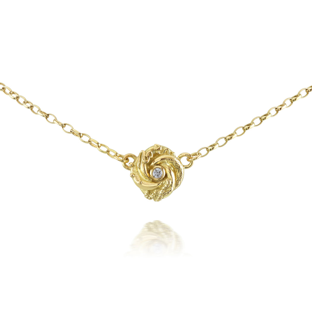 Gold & Diamond Tiny Loveknot Necklace