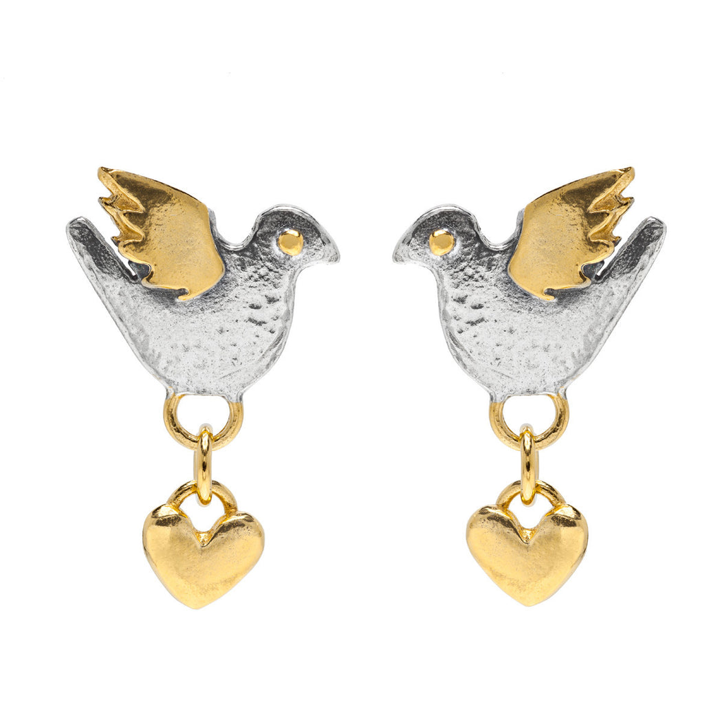 Dove Heart Drop Earrings