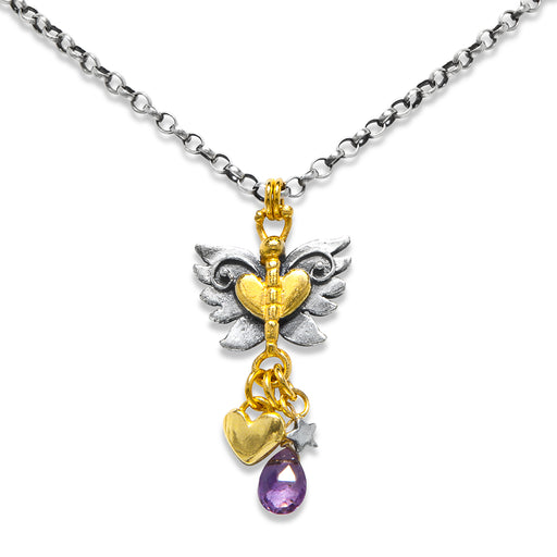 Angel Butterfly Cluster Drop Necklace