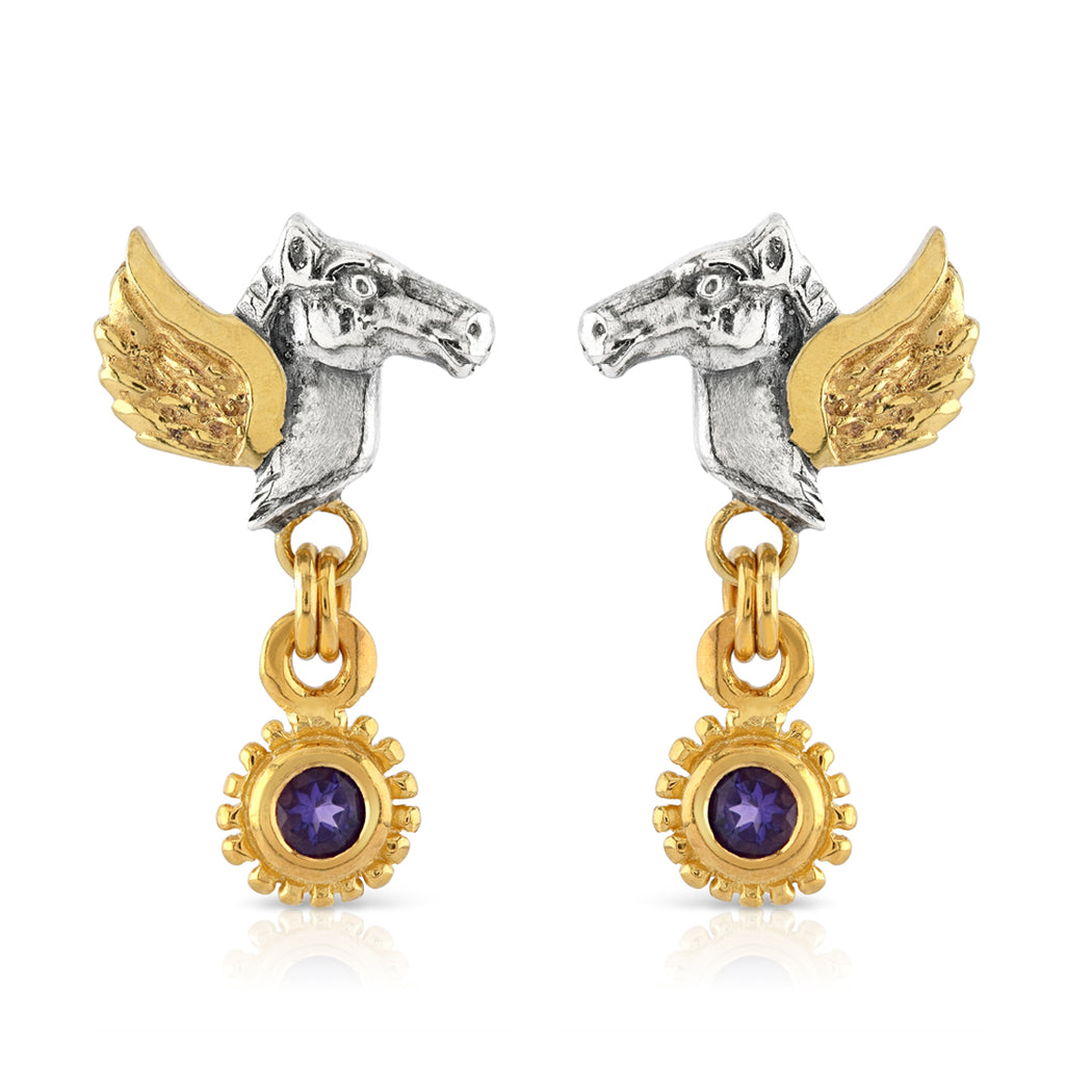 Pegasus Amethyst Drop Earrings