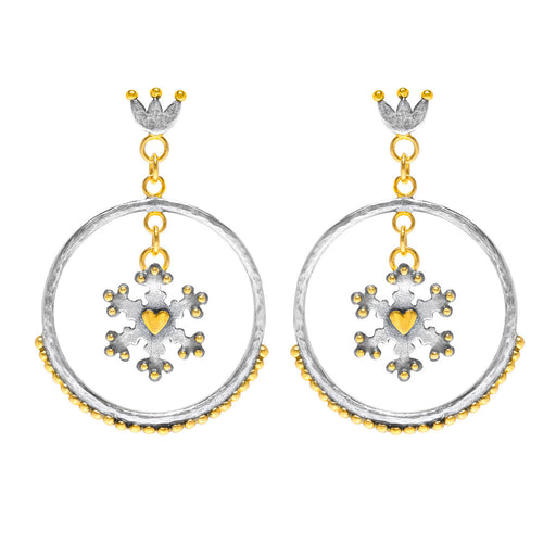 Snowflake Circle Earrings