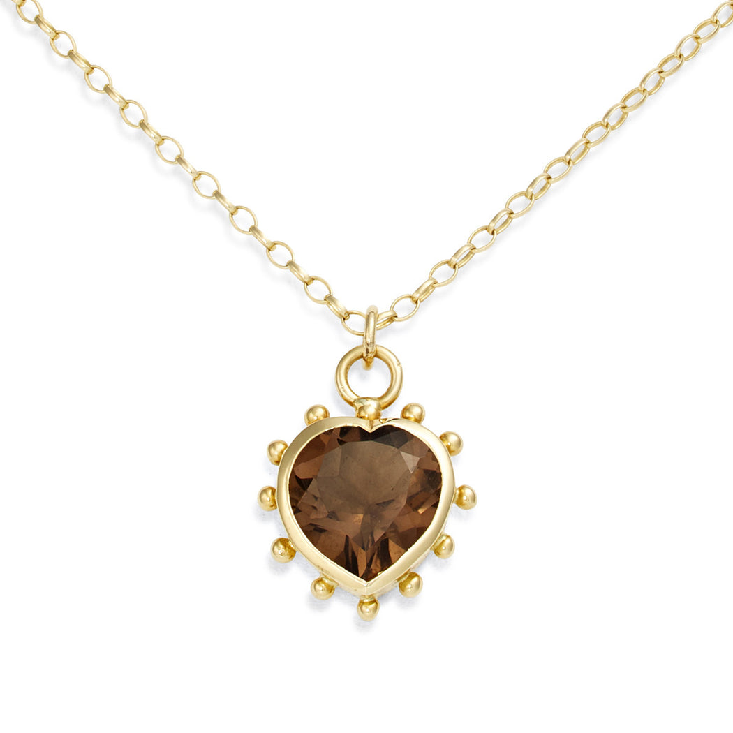 Smokey Quartz Set Heart Necklace