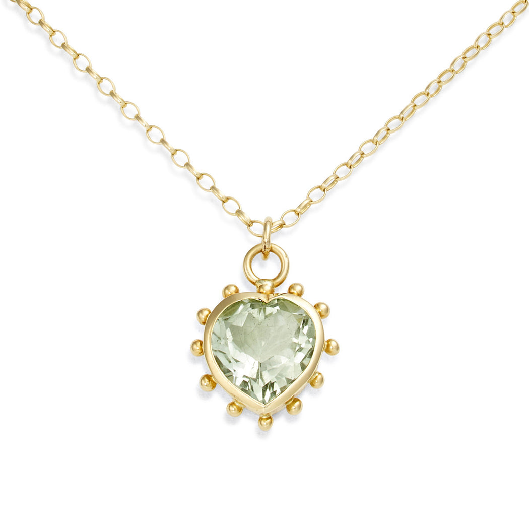 Green Amethyst Set Heart Necklace