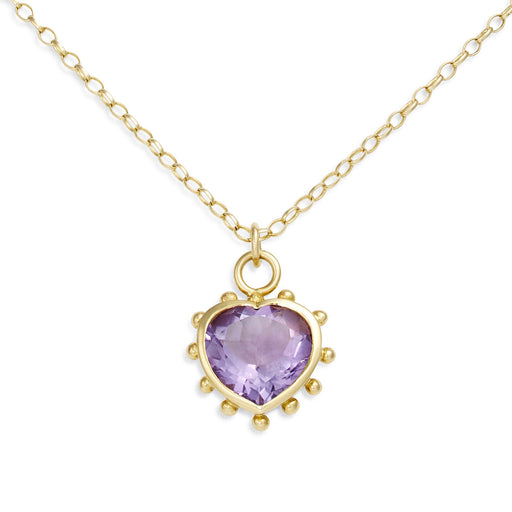 Purple Amethyst Set Heart Necklace