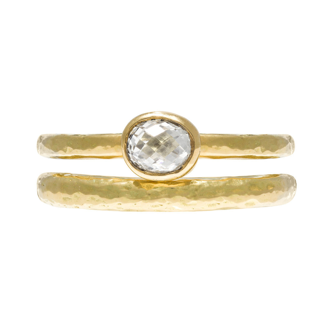 Gold Chubby Hammered Ring