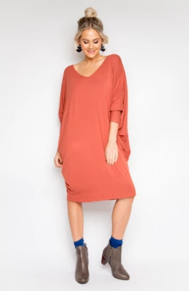 Long Sleeve Miracle Dress in Cayenne