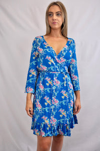 Blue Blossom Wrap Dress - My Bargains Boutique