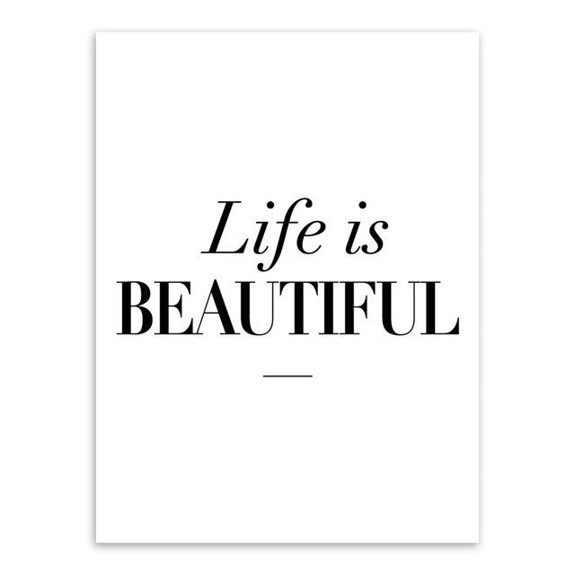 Life is Beautiful Inspirational Typography Print